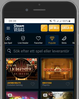 Dream Vegas Casino i mobilen