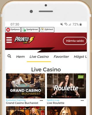 Pronto Live i mobilen